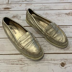 Sperry Gold Metallic Penny Loafers Women's 9